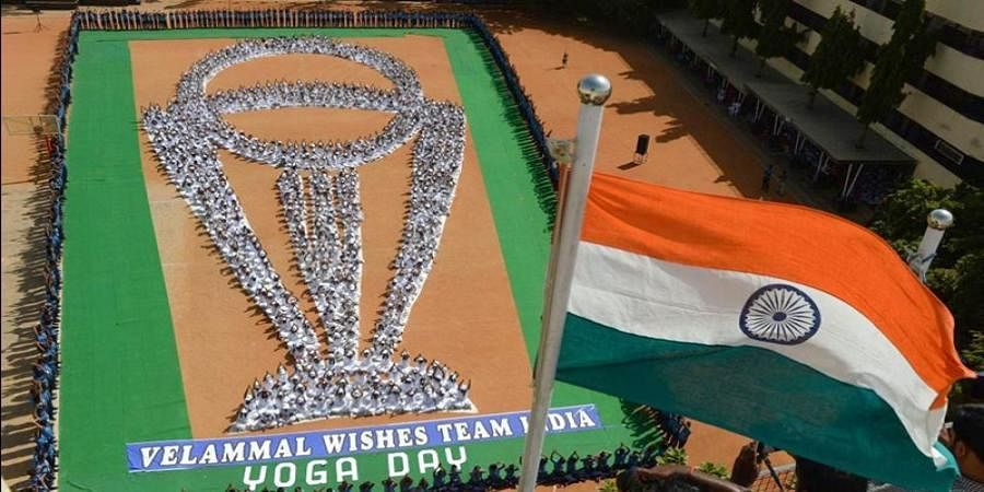 Students in Chennai perform Yoga in World Cup trophy shape, win Twitter